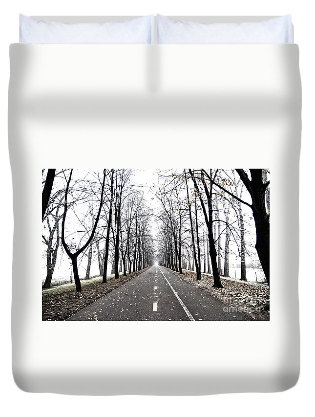 Graphic Duvet Cover featuring the photograph Long Way by Michal Boubin