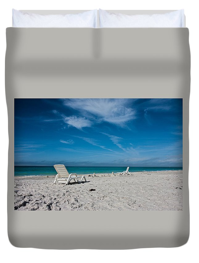 Longboat Duvet Cover featuring the photograph Longboat Key by Betsy Knapp