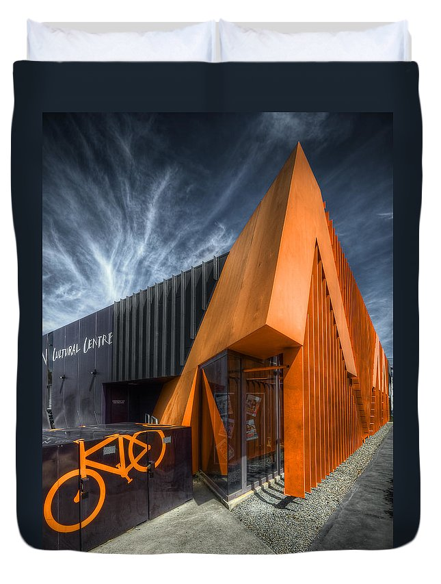 Orange Duvet Cover featuring the photograph L'orange Facade by Wayne Sherriff