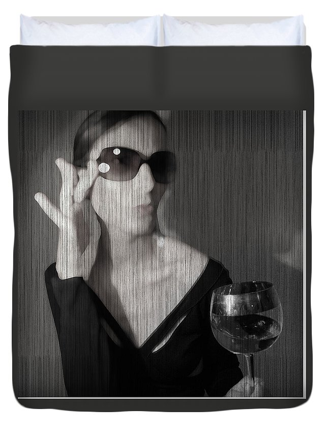Woman Duvet Cover featuring the photograph Loren With Wine by Naxart Studio