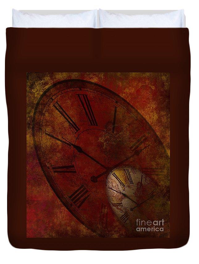 Clock Duvet Cover featuring the digital art Losing Time by Lj Lambert