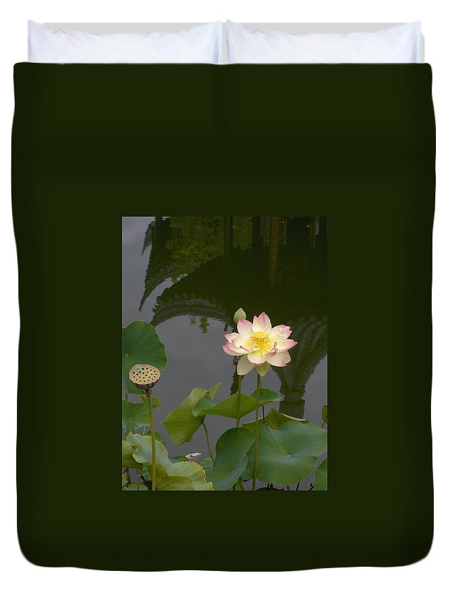 Lotus Duvet Cover featuring the photograph Lotus 1 by Catherine Helmick