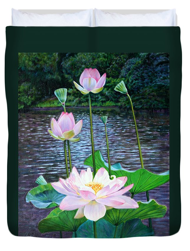 Lotus Duvet Cover featuring the painting Lotus by John Lautermilch