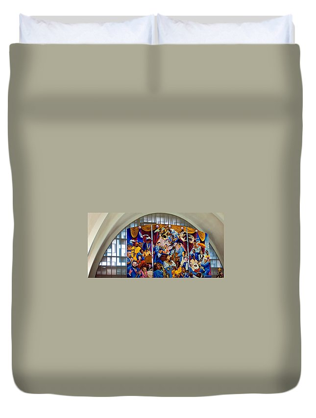 Louis Armstrong Duvet Cover featuring the photograph Louis Armstrong Airport by Steve Harrington