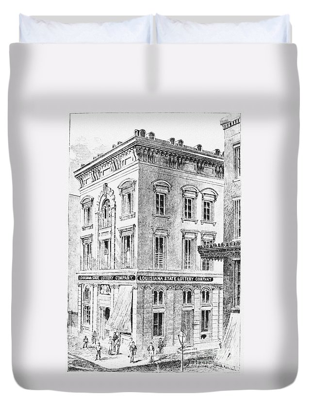 1873 Duvet Cover featuring the photograph Louisiana: Lottery Office by Granger