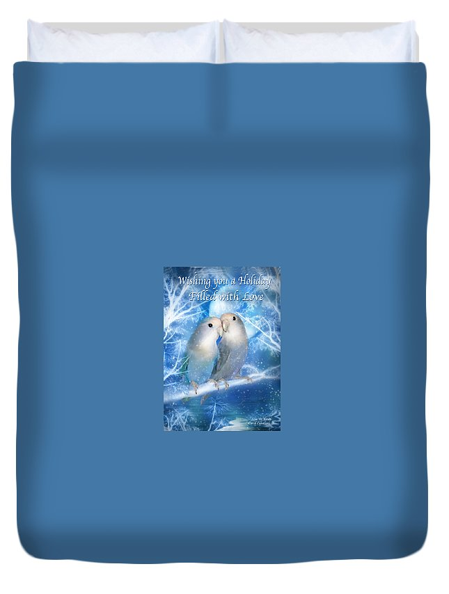 Christmas Card Duvet Cover featuring the mixed media Love At Christmas Card by Carol Cavalaris