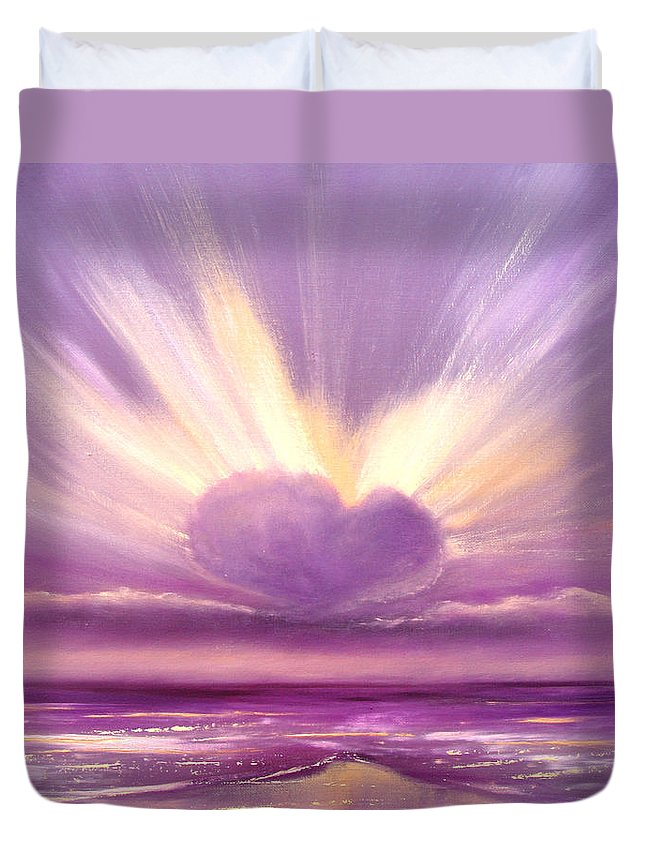 Sunset Duvet Cover featuring the painting Love At Sunset by Gina De Gorna