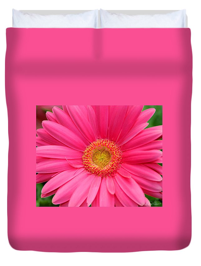Pink Duvet Cover featuring the photograph Love Daisy by Diana Haronis