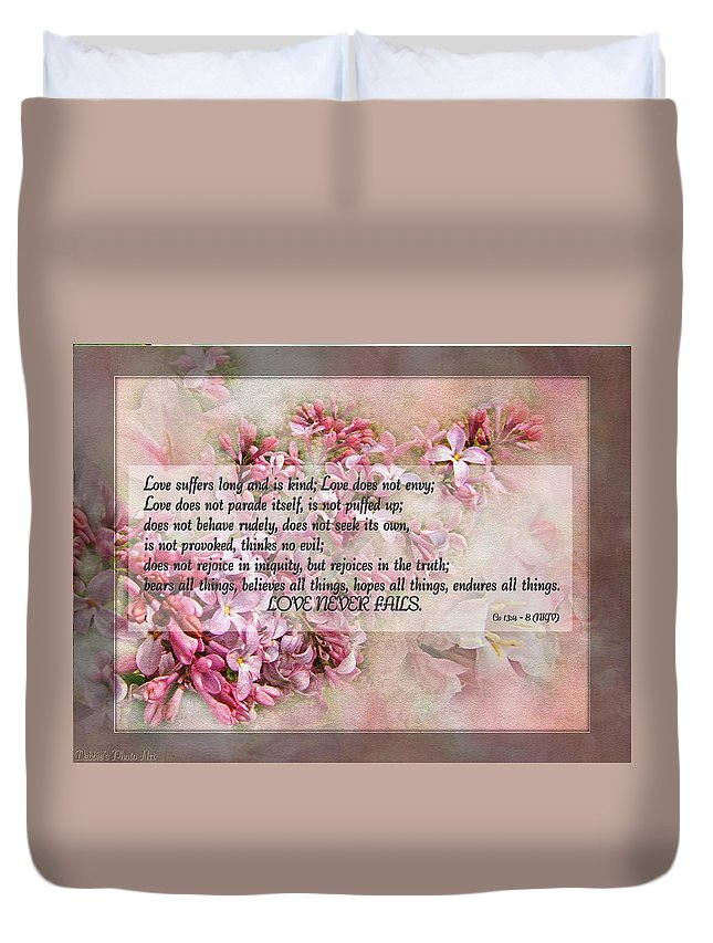 Nature Duvet Cover featuring the photograph Love Never Fails by Debbie Portwood