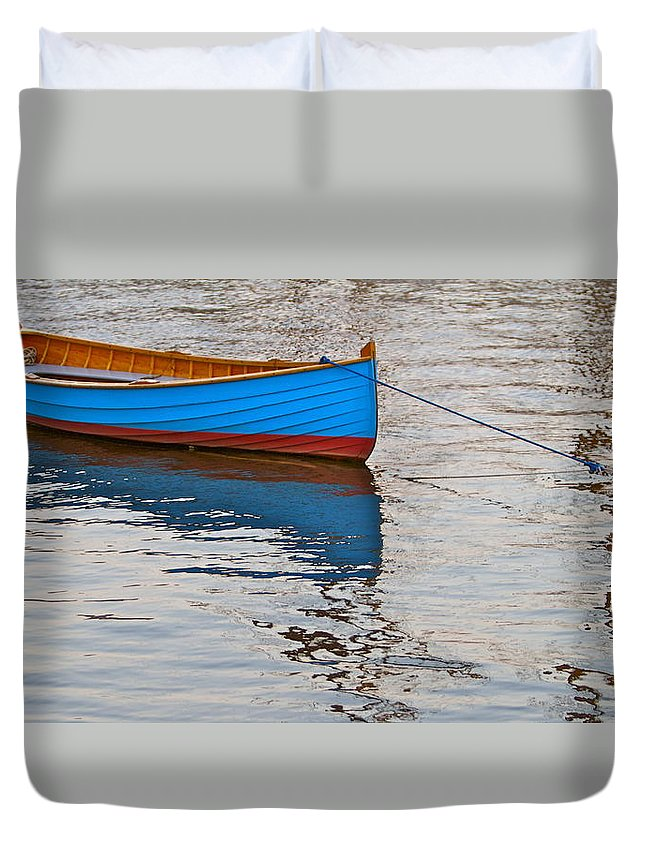 Boat Lonely Lovely Water Scenic Duvet Cover featuring the photograph Lovely Boat by Alice Gipson