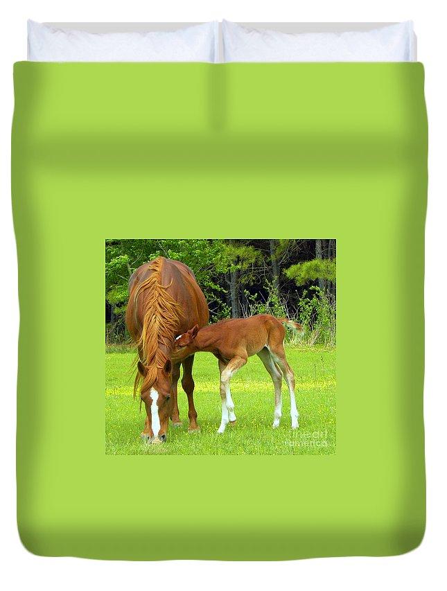 Horse Duvet Cover featuring the photograph Lovin by Tisha Clinkenbeard