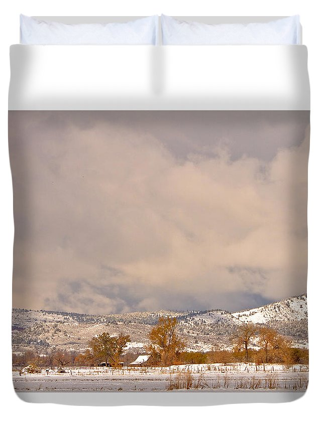 'low Clouds' Duvet Cover featuring the Low Winter Storm Clouds Colorado Rocky Mountain Foothills 5 by James BO Insogna