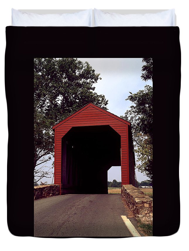 Loy's Station Covered Bridge Duvet Cover featuring the photograph Loy's Station Covered Bridge by Sally Weigand
