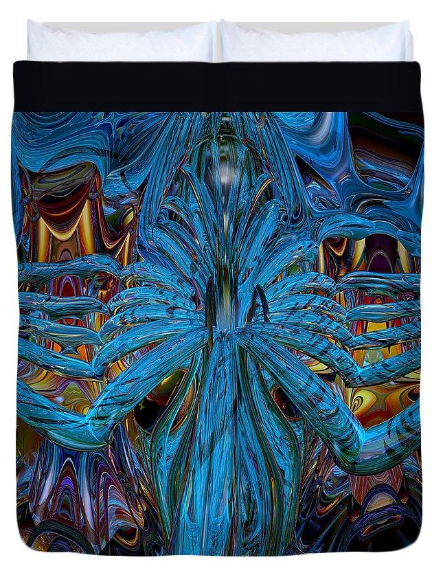 Canvas Duvet Cover featuring the digital art Lsd Neon Flower Fx by G Adam Orosco
