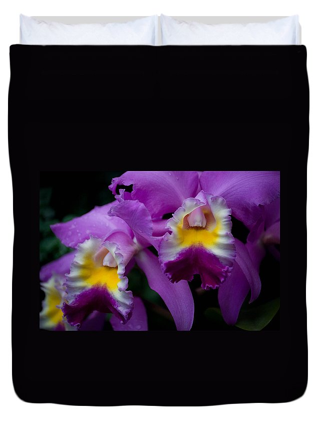 Flower Duvet Cover featuring the photograph Maddie's Orchid by Trish Tritz