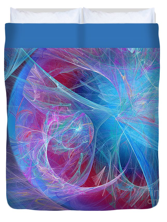 Fine Art Duvet Cover featuring the digital art Magenta Blue by Andee Design