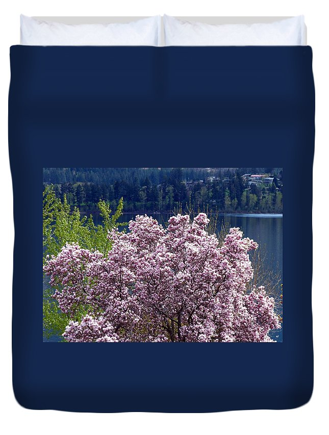Magnolia Tree Duvet Cover featuring the photograph Magnolia By The Lake by Will Borden