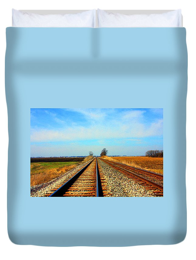 Railroad Track Prints Duvet Cover featuring the photograph Making Tracks by Marie Jamieson