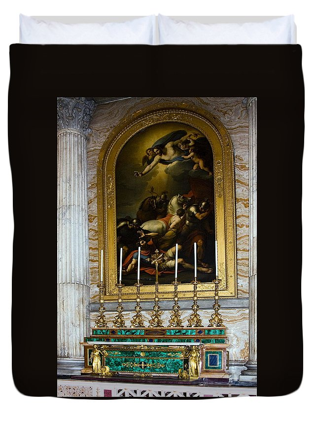 Basilica St. Paul Outside The Walls Duvet Cover featuring the photograph Malachite And Lapis Lazuli Altar by Sally Weigand