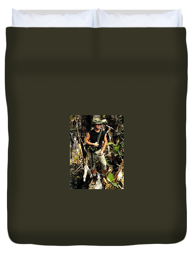 Art Duvet Cover featuring the painting Man In The Wilderness by David Lee Thompson