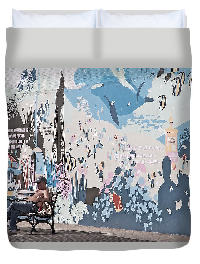 Coney Island New York City Sunning Man Boardwalk Mural Scenic Duvet Cover featuring the photograph Man Sunning by Alice Gipson