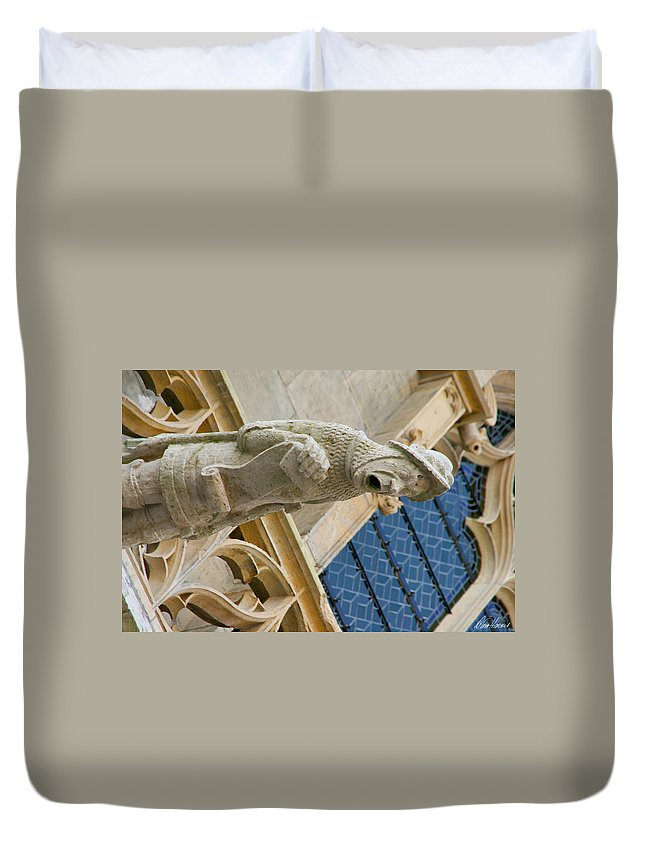 Gargoyle Duvet Cover featuring the photograph Man With Gaping Mouth by Diana Haronis