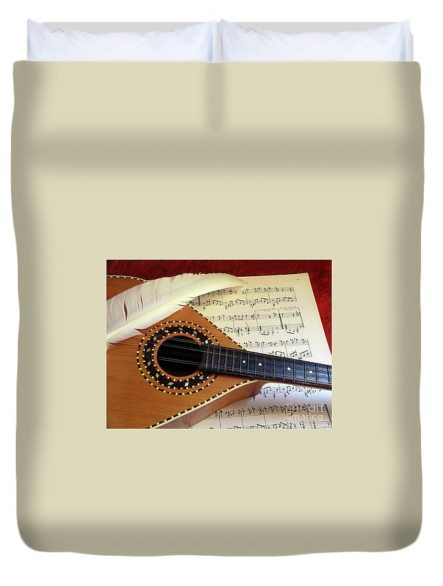 Aged Duvet Cover featuring the photograph Mandolin And Partiture by Carlos Caetano