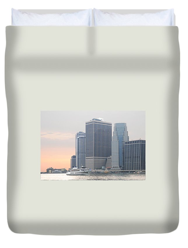 Manhattan-city-building-new York- New York-boat-water Duvet Cover featuring the photograph Manhattan The Beauty by Maria isabel Villamonte