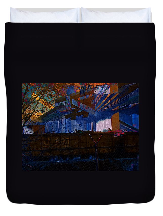 Abstract Duvet Cover featuring the photograph Manufacturing Cfi - Glory Days by Lenore Senior