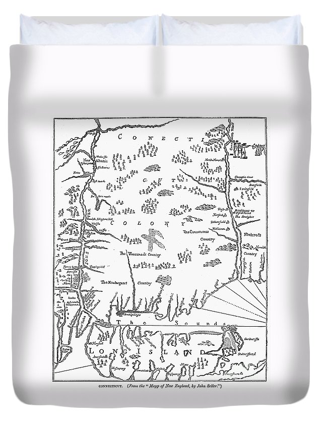 1661 Duvet Cover featuring the photograph Map: Connecticut, 1661 by Granger