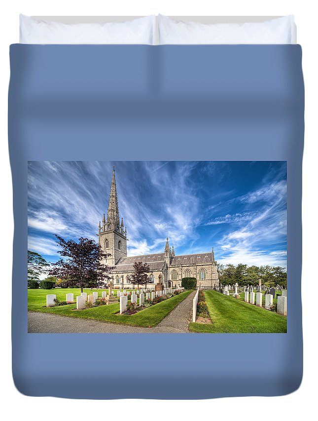 Cemetery Duvet Cover featuring the photograph Marble Church by Adrian Evans