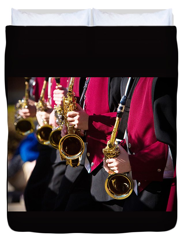 Saxophone Duvet Cover featuring the photograph Marching Band Saxophones Cropped by James BO Insogna