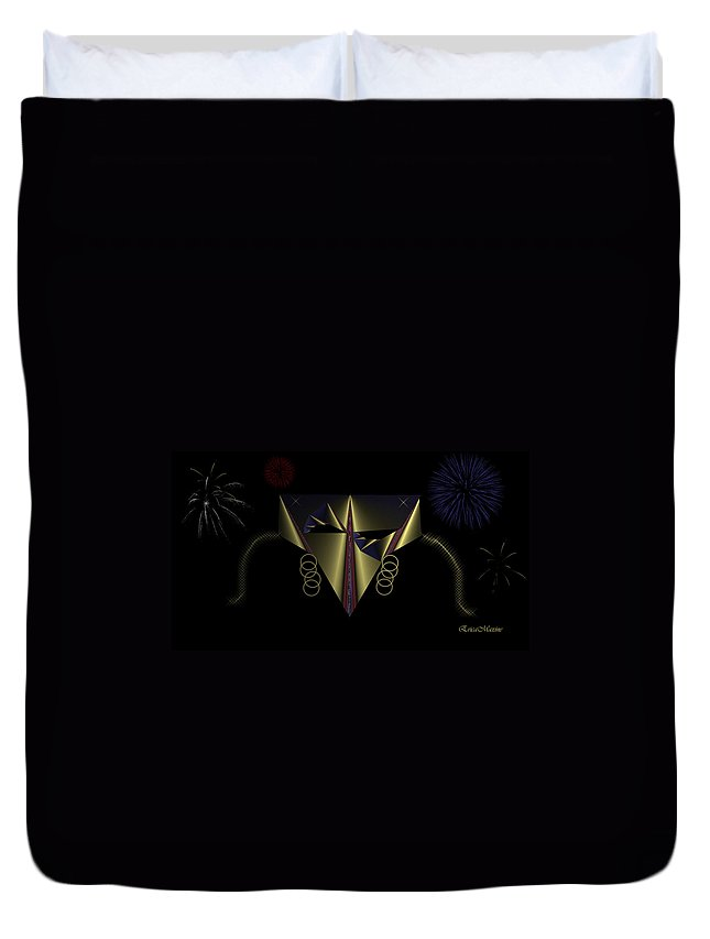 Mask Duvet Cover featuring the digital art Mardi Gras Mask 2 by Ericamaxine Price