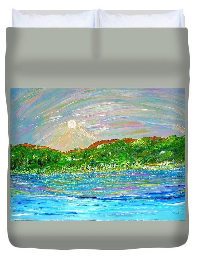 Landscape Duvet Cover featuring the painting Maria De Vera Cruz by Sara Credito