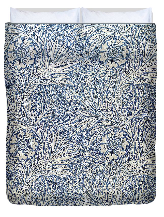 Arts And Crafts Movement; Floral; Pattern; Marigolds Duvet Cover featuring the tapestry - textile Marigold Wallpaper Design by William Morris