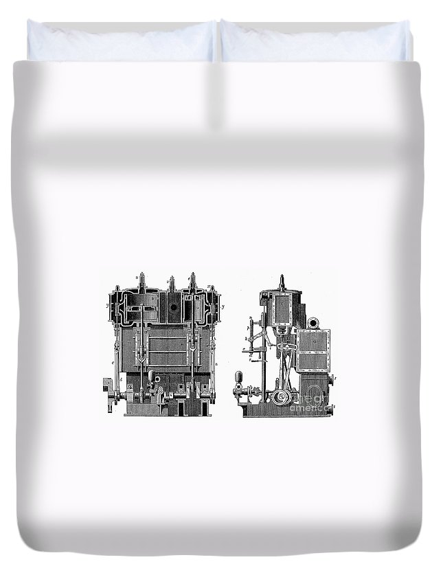 1878 Duvet Cover featuring the photograph Marine Steam Engine, 1878 by Granger