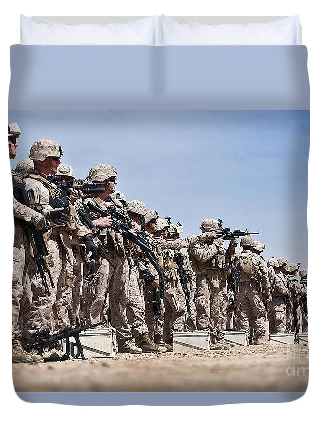 Afghanistan Duvet Cover featuring the photograph Marines Verify The Battle Sight Zeroes by Stocktrek Images