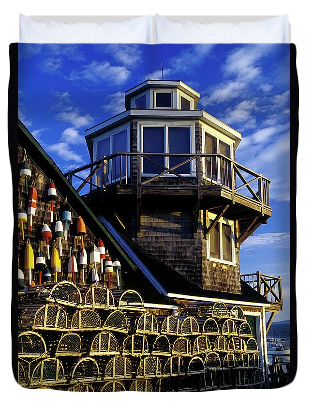 Maritime Duvet Cover featuring the photograph Maritime Lookout Acadia Maine by Dave Mills