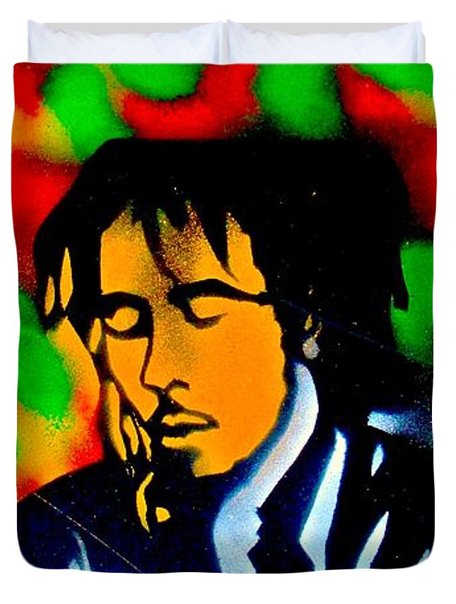 Hip Hop Duvet Cover featuring the painting Marley Rasta Guitar by Tony B Conscious