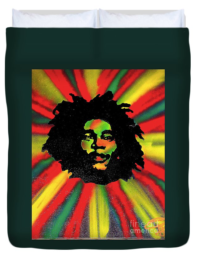 Hip Hop Duvet Cover featuring the painting Marley Starburst by Tony B Conscious