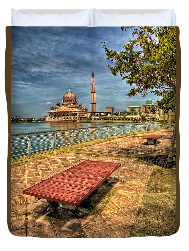 Architecture Duvet Cover featuring the photograph Masjid Putra by Adrian Evans