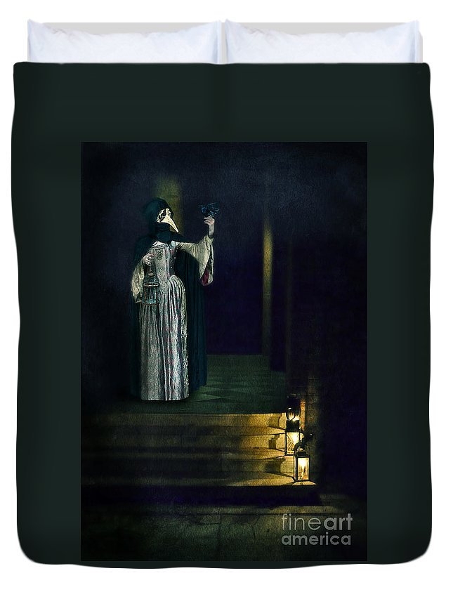 Lady Duvet Cover featuring the photograph Masked Lady by Jill Battaglia