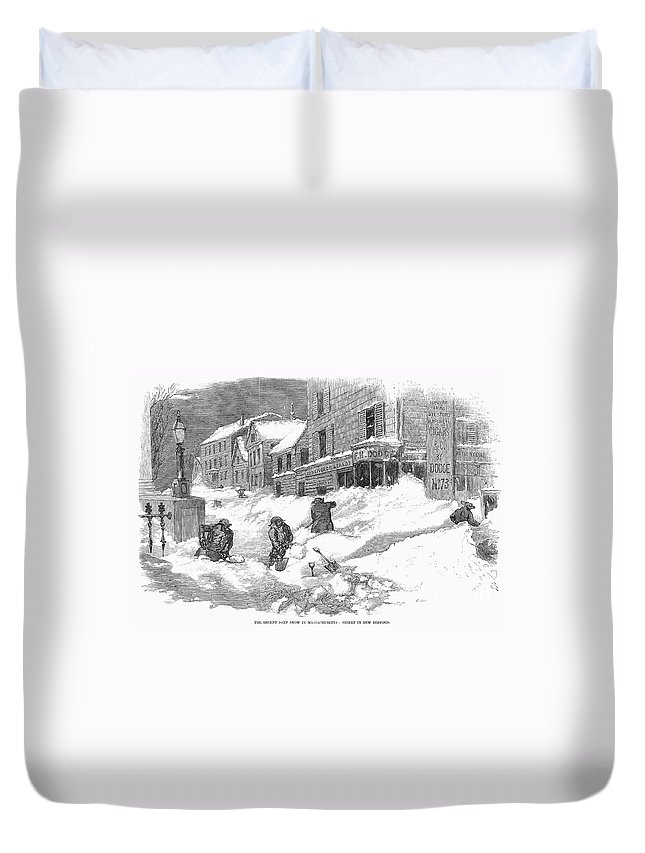 1857 Duvet Cover featuring the photograph Massachusetts: Blizzard by Granger