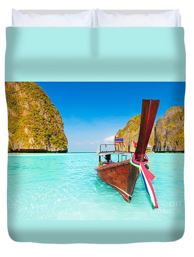 Maya Duvet Cover featuring the photograph Maya Bay by MotHaiBaPhoto Prints