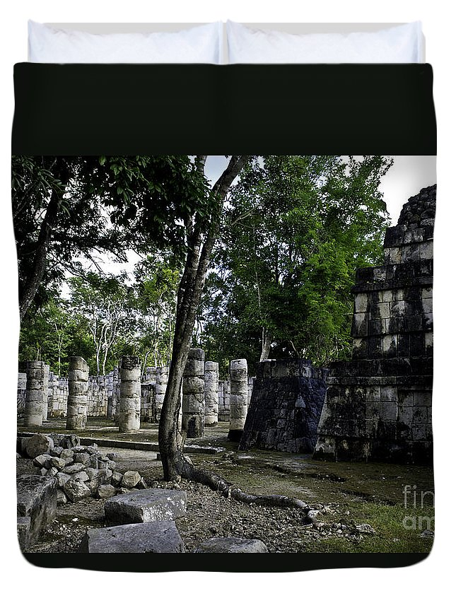 Chichen Itza Duvet Cover featuring the photograph Mayan Colonnade Two by Ken Frischkorn