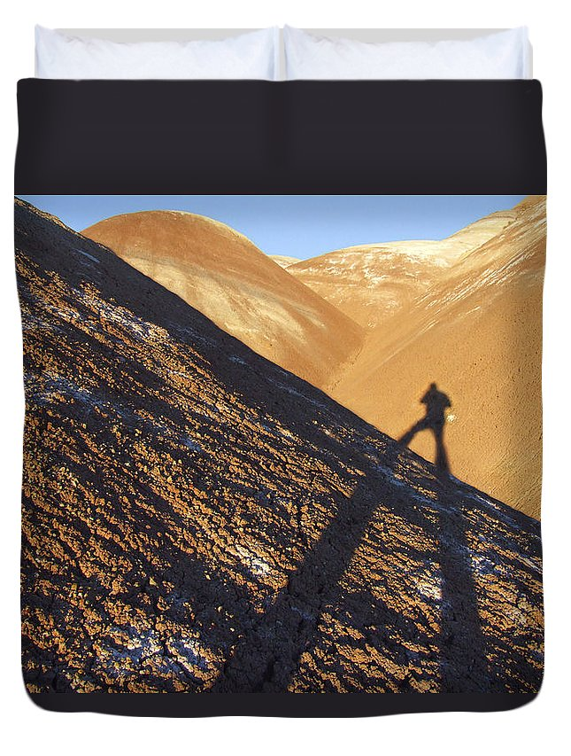 Shadow Duvet Cover featuring the photograph Me And My Shadow - Utah by Mike McGlothlen