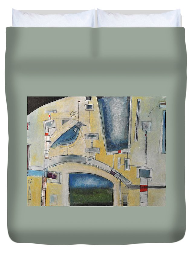 Bird Duvet Cover featuring the painting Mechanical Bird by Tim Nyberg