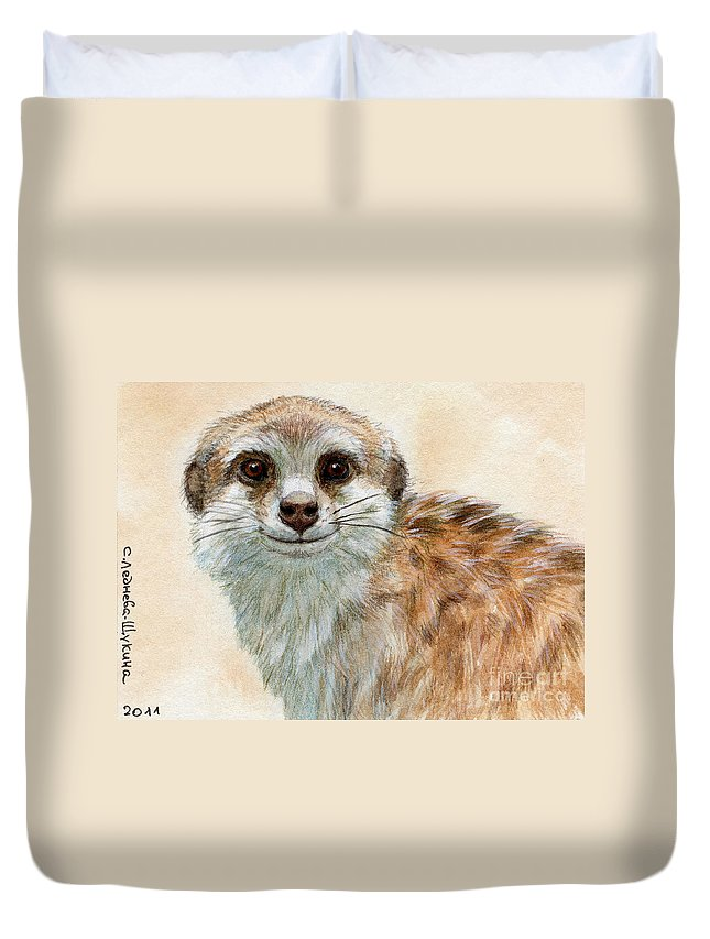 Suricata Duvet Cover featuring the painting Meerkat 762 by Svetlana Ledneva-Schukina