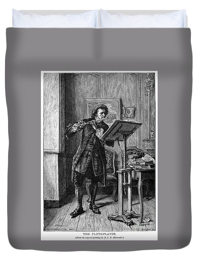 1879 Duvet Cover featuring the photograph Meissonier: Flute Player by Granger