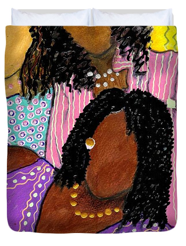 Greeting Cards Duvet Cover featuring the painting Mellow Sistahs by Angela L Walker